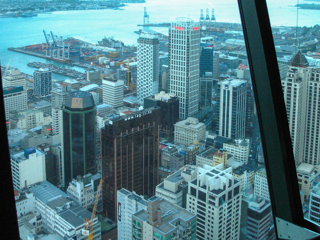 Auckland, as viewed from the top of the Sky Tower.