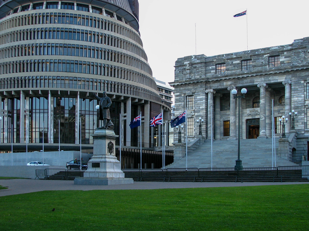 "New Zealand government buildings complex in Wellington. The round building has been nicknamed ""The Beehive."""