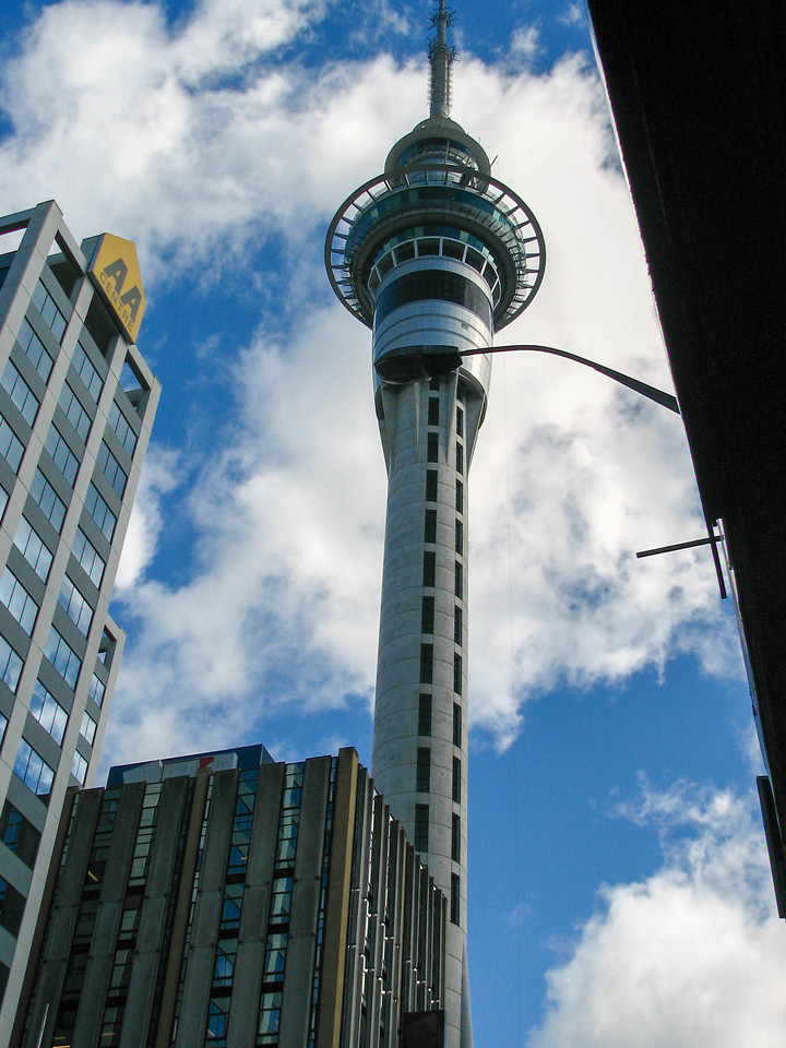 Auckland's Sky Tower, as seen from the harbour.
