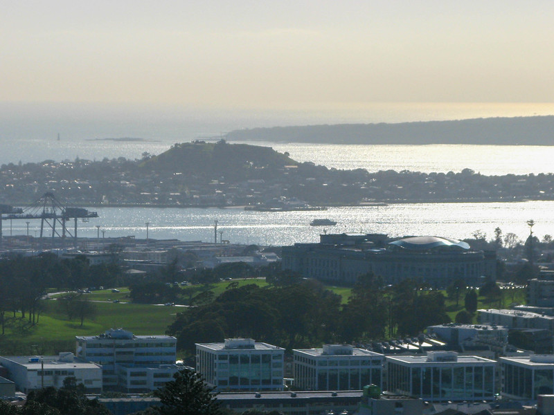 Looking out at the Waitemata Harbour (east/Pacific) from the top of Mt. Eden. The hill in the center of the photo is another extinct volcano. The island in the background is Rangitoto Island, the youngest of Auckland's volcanoes.