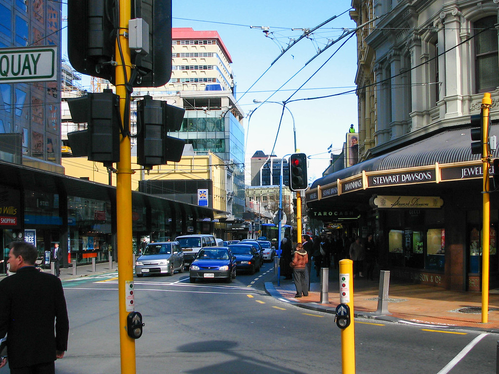 Downtown Wellington, at the corner of Willis St., Lambton Quay, and Customhouse Quay.
