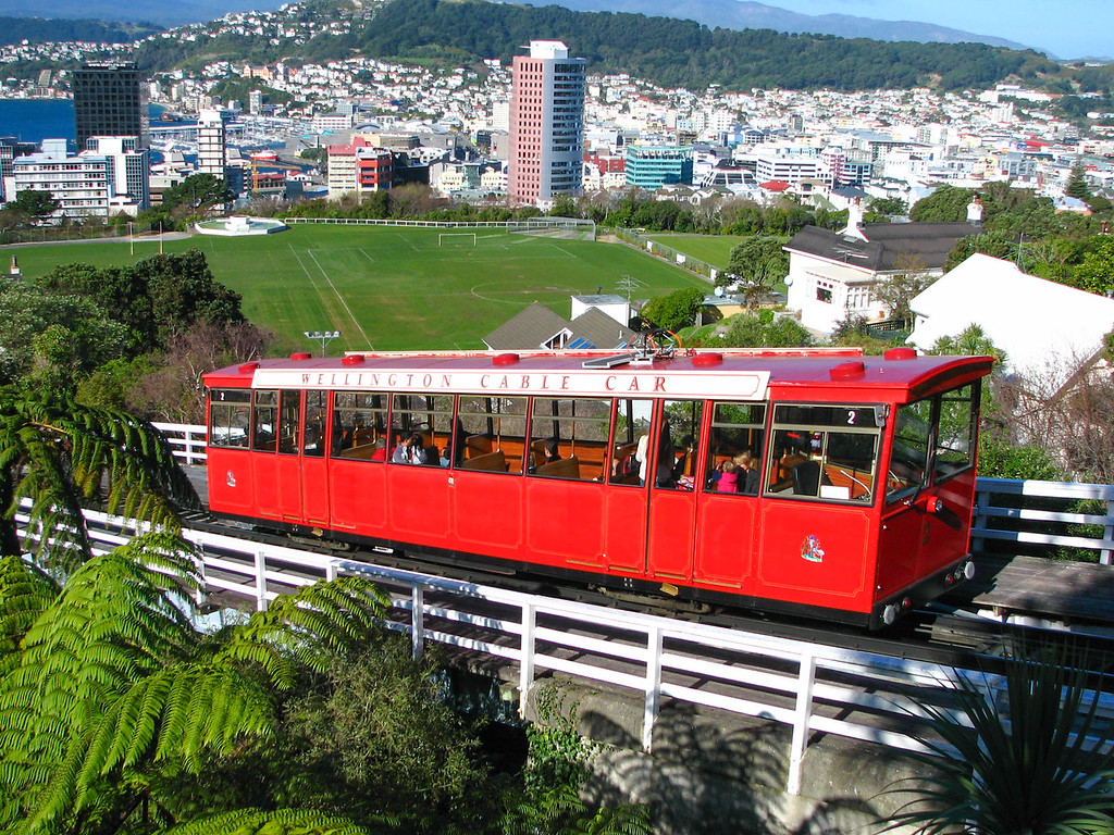 The cable car heads down the steep slope toward the City Centre.
