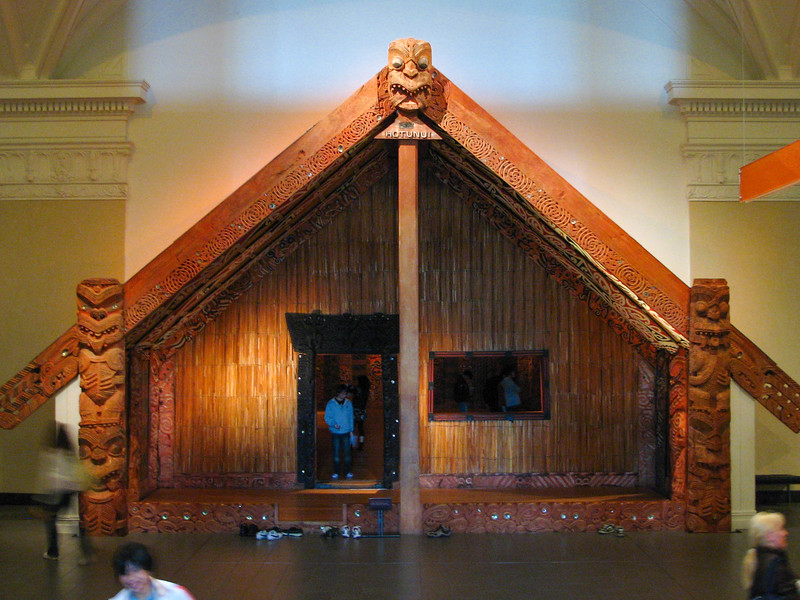 Front of Maori meeting house in the Auckland Museum.