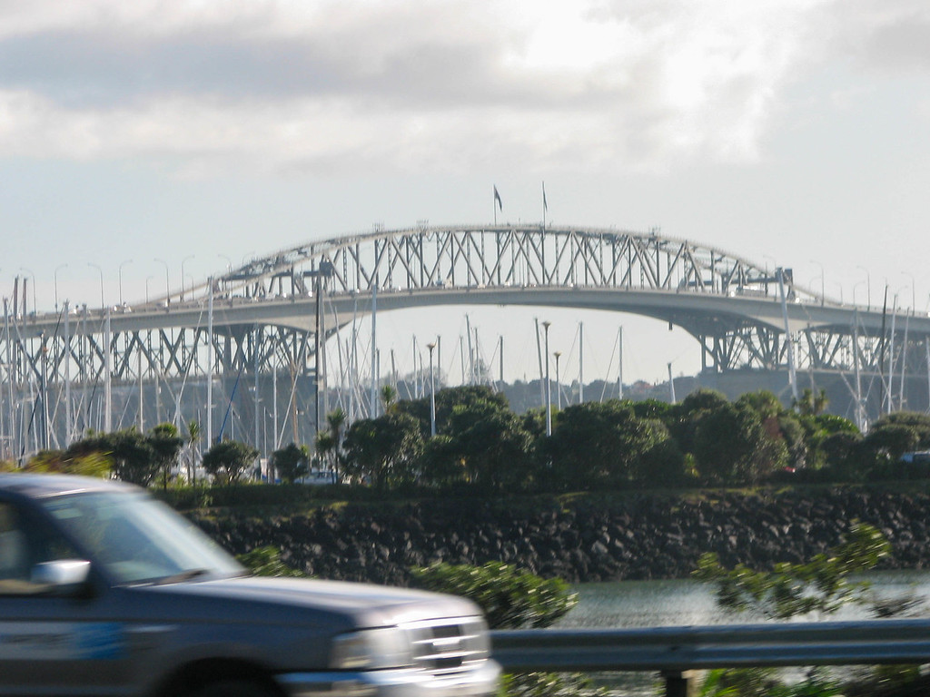 """The Auckland Harbour bridge. The bridge has the nickname """"Nippon Clip-On"""" because 10 years after the bridge was built, two additional lanes in each direction were """"clipped on"""" to the existing structure by a Japanese engineering firm to increase the bridge's capacity."""