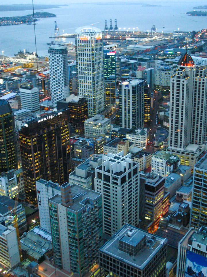 Auckland, as viewed from the top of the Sky Tower. The vertical cable in the photo is for the Sky Jump.