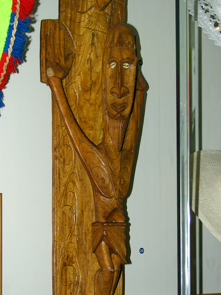 Maori crucifix at the Auckland Museum. Many of the Maori people were exposed to Christianity before European colonization of New Zealand.