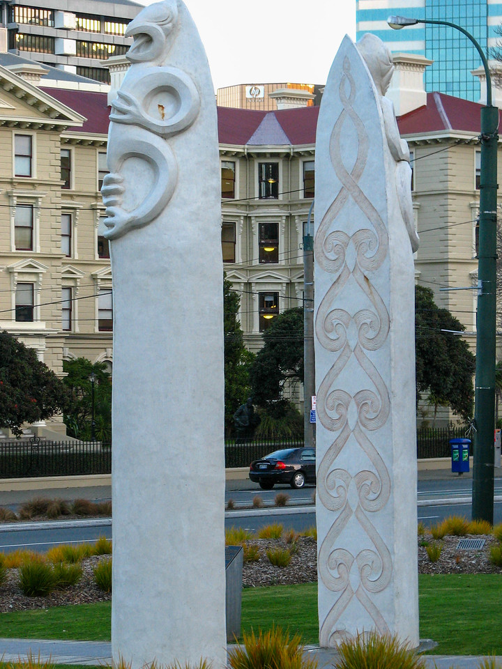 These columns near the Parliament buildings in Wellington feature the koru design.