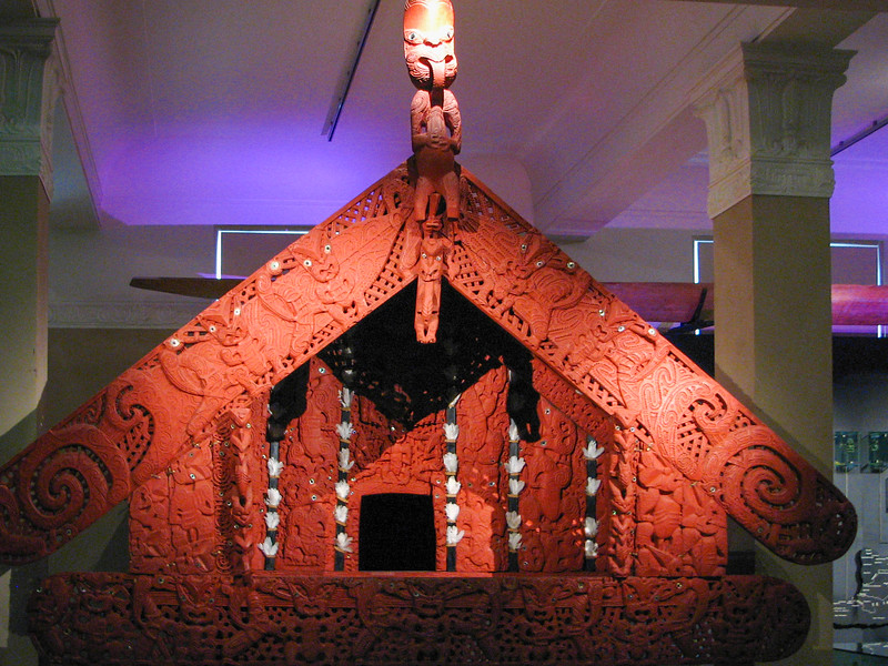 Maori building in the Auckland Museum.
