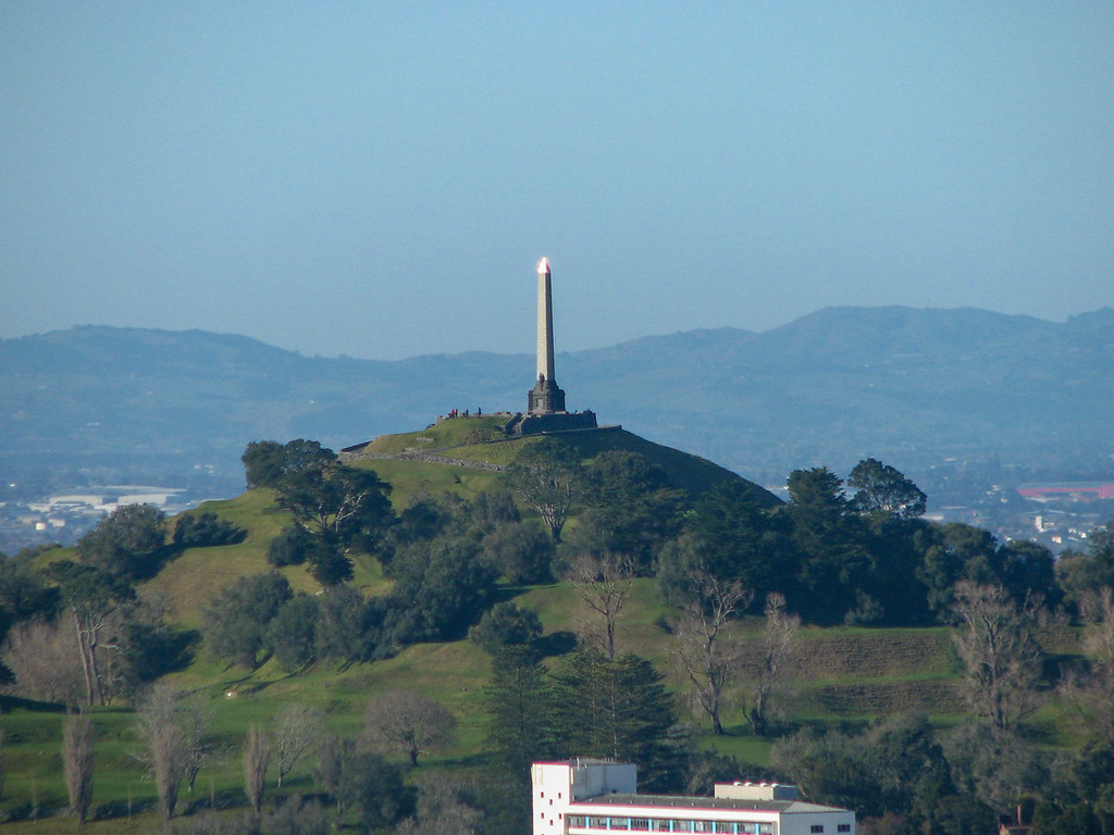 View of One Tree Hill from the top of Mt. Eden.