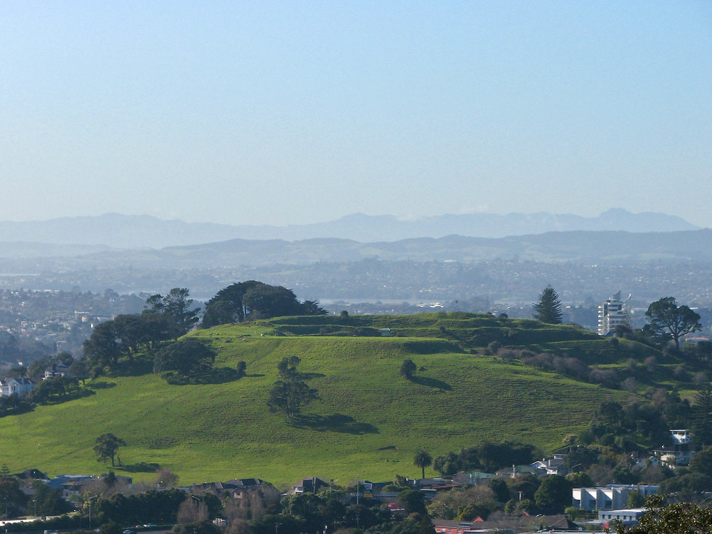 One of the other volcanic cones seen from the top of Mt. Eden.