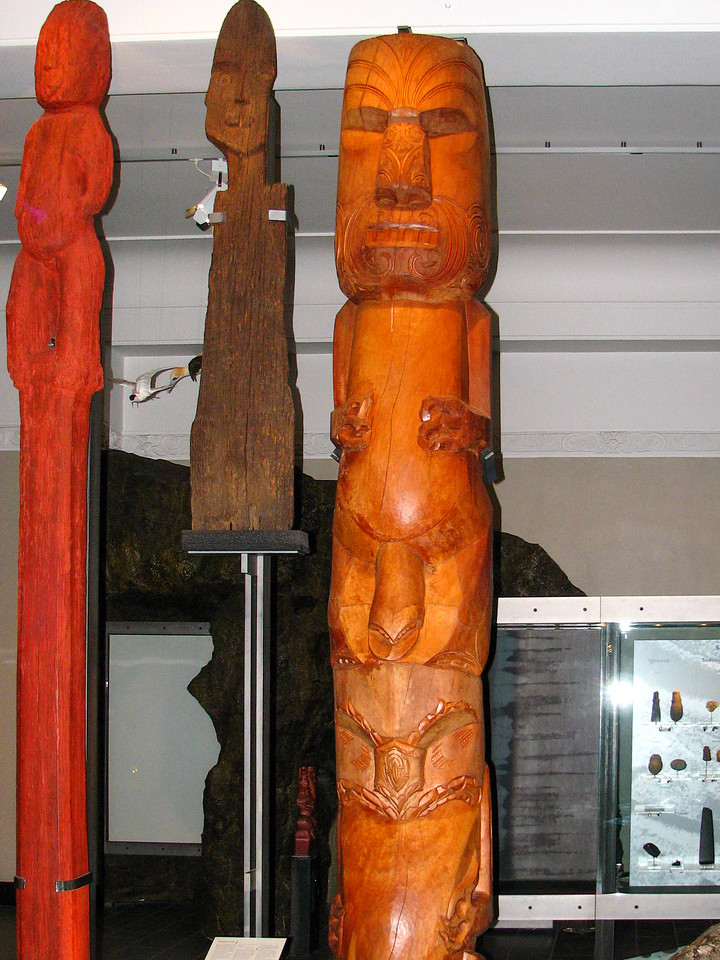 Maori poles (similar to totem poles in North America) in the Auckland Museum.