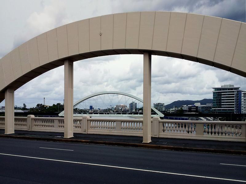 6 April 2013: View of Merivale Bridge, from William Jolly Bridge (formerly Grey Street Bridge), Brisbane.
