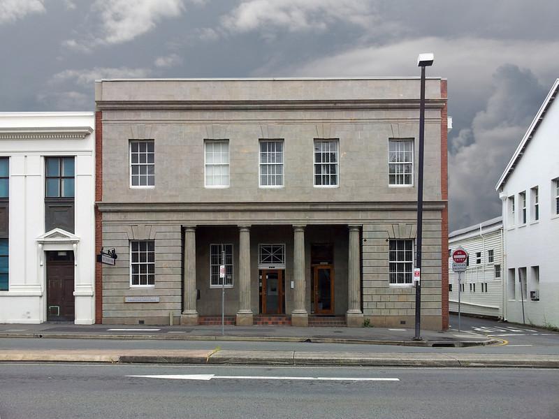 Brisbane, 6 April 2013: Grey building, on Grey Street, on a grey day.