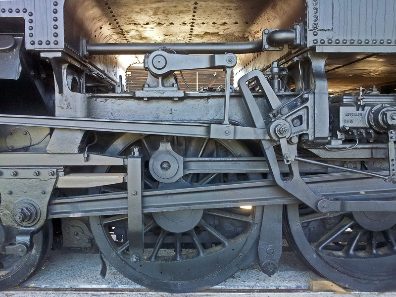 1 March 2015: Trainworks Railway Museum, Thirlmere, New South Wales. 2015 Festival of Steam.<br /> <br /> Detail of 6040 Garratt steam locomotive.