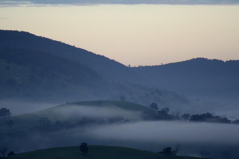 Blue-grey morning mist.
