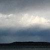 17 August 2012: Storms over Jervis Bay. View  towards Bowen Island from Hyams Beach.