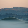Hill delineated in morning fog, near Reids Flat, New South Wales, .