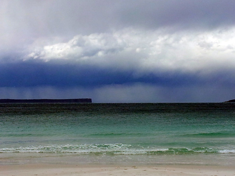 17 August 2012: Stormclouds over Point Perpendicular and the entrance to Jervis Bay. View from Hyams Beach.
