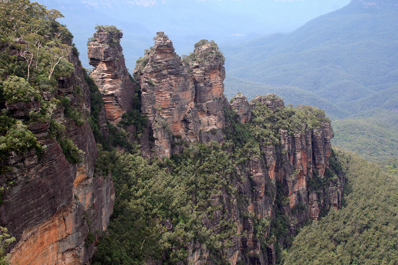 The Three Sisters, Echo Point, Katoomba, in the Blue Mountains World Heritage Area, about 100 kilometres west of Sydney.