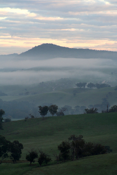 Valley shrouded in early morning mist at Reids Flat, New South Wales, June 2007.