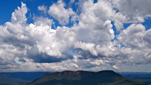 Mount Solitary and the Jamison Valley - part of the Blue Mountains National Park World Heritage Area. Viewed from Echo Point, Katoomba, New South Wales.