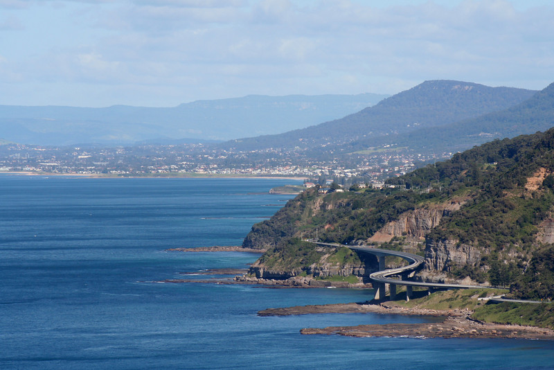 Seacliff Bridge and Illawarra coastline, south of Stanwell Park, New South Wales. View from Bald Hill.