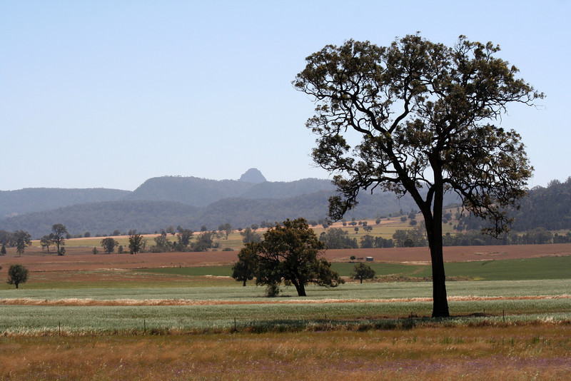 17 October 2013: Warrumbungle Ranges landscape, as seen from from the Newell Highway, near Tooraweenah, New South Wales.