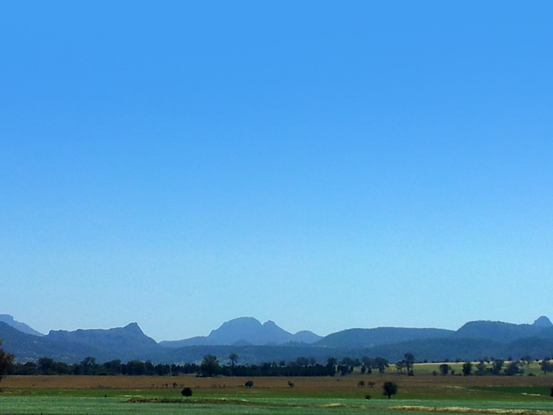 17 October 2013: View of the Warrumbungle Ranges from the Newell Highway, near Tooraweenah, New South Wales.