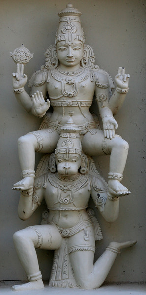 The monkey god Hanuman bearing another deity (possibly Lord Rama). Sri Venkateswara Hindu Temple, Helensburgh, New South Wales. Located south of Sydney, the temple is the biggest Hindu place of worship in the southern hemisphere.
