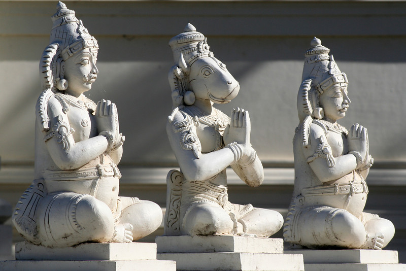 Praying deity figures at the entrance to Sri Venkateswara Hindu Temple, Helensburgh, New South Wales. Located south of Sydney, the temple is the biggest Hindu place of worship in the southern hemisphere.