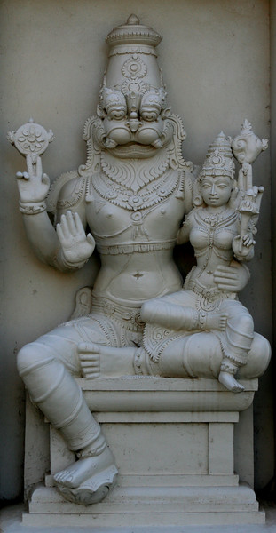 Lord Narasimha with a female deity. Sri Venkateswara Hindu Temple, Helensburgh, New South Wales. Located south of Sydney, the temple is the biggest Hindu place of worship in the southern hemisphere.