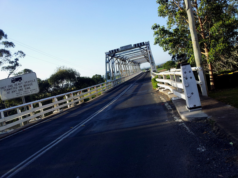 Historic timber truss bridge over the Hunter River at Morpeth, New South Wales.