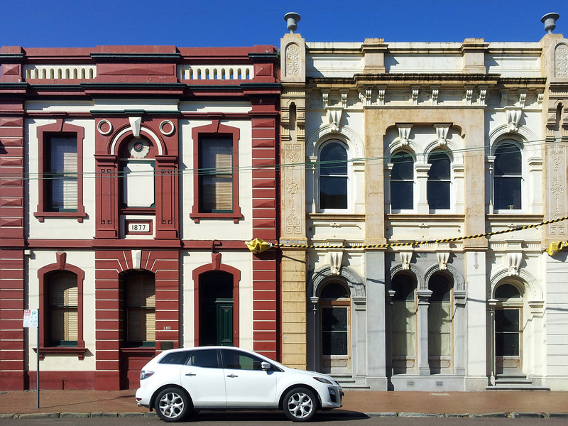 19 October 2013: 19th century Italianate building facades, Maitland, New South Wales.