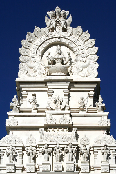 Gopura detail. Sri Venkateswara Hindu Temple, Helensburgh, New South Wales. Located south of Sydney, the temple is the biggest Hindu place of worship in the southern hemisphere.