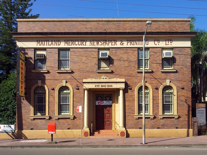 19 October 2013: Early 20th century newspaper office building, Maitland, New South Wales.
