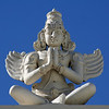 Winged deity parapet figure. Sri Venkateswara Hindu Temple, Helensburgh, New South Wales. Located south of Sydney, the temple is the biggest Hindu place of worship in the southern hemisphere.