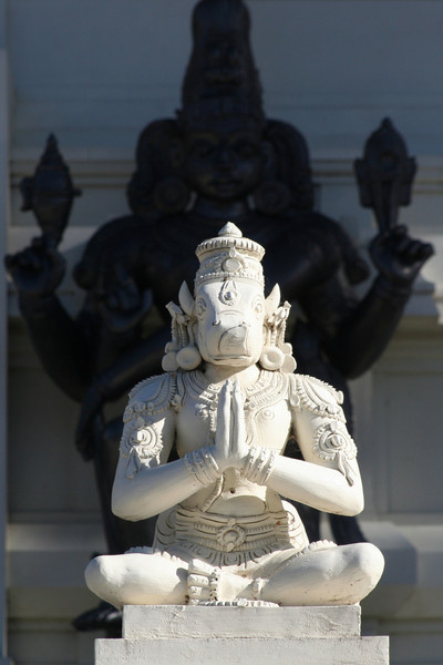 Praying Nandi with looming Vishnu. Sri Venkateswara Hindu Temple, Helensburgh, New South Wales. Located south of Sydney, the temple is the biggest Hindu place of worship in the southern hemisphere.