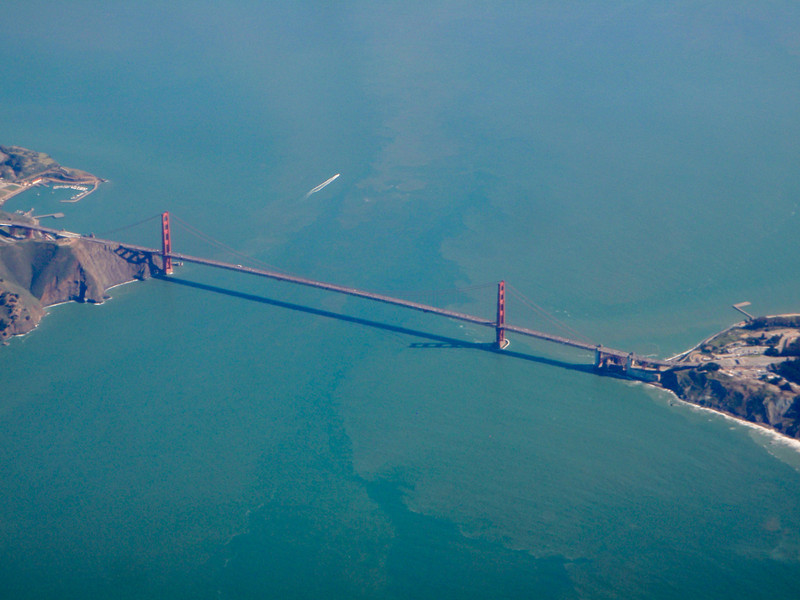 View of the Golden Gate bridge as the flight landed in San Francisco