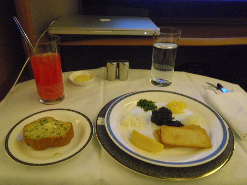 Caviar and a Singapore Sling enroute to Sydney!