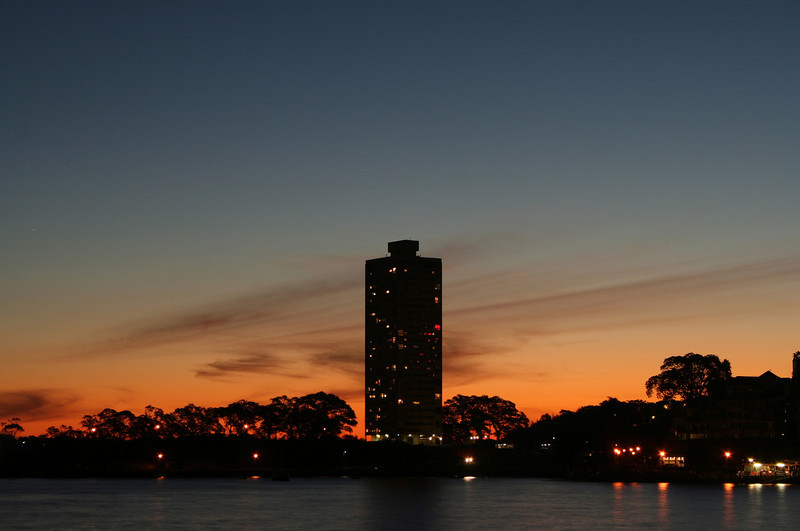 Blues Point Tower at dusk.