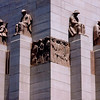 Detail of monumental stone figural sculptures by Rayner Hoff adorning the ANZAC War Memorial in Hyde Park.