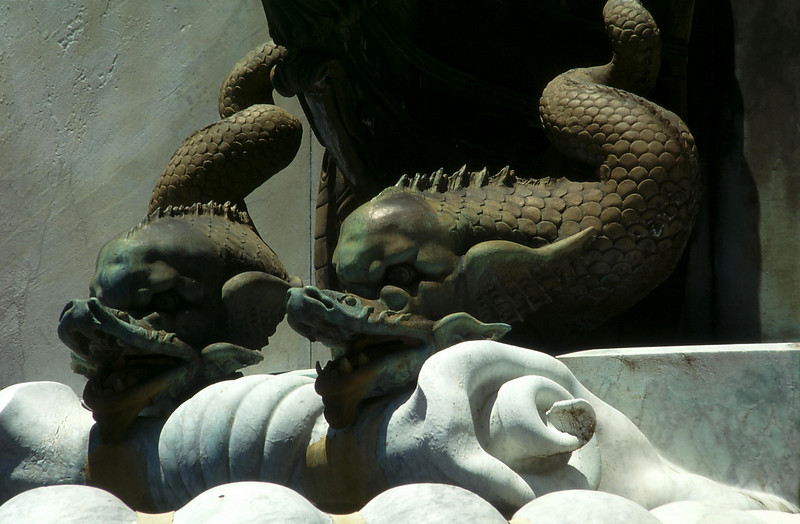 Angry serpentine dolphins, from the base of the Governor Arthur Philip commemorative fountain, Royal Botanical Gardens.
