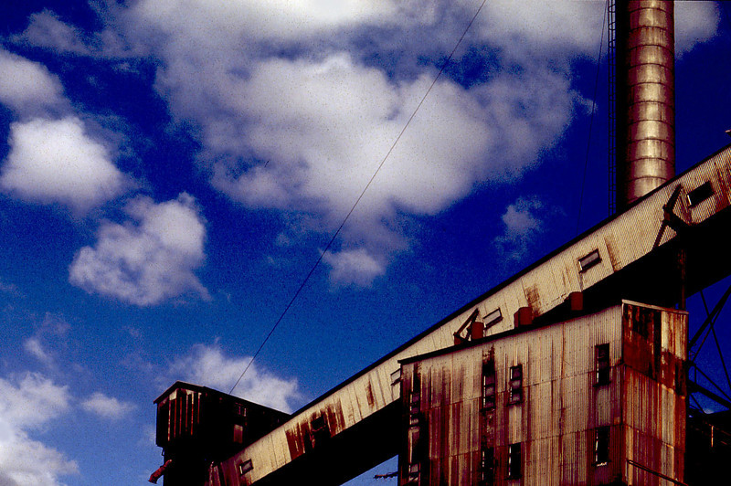 Coal loader and chimney at the derelict Rozelle Power Station, on the shores of Blackwattle Bay, Rozelle, Sydney, in 1993.