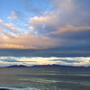 27 July 2015: Sunset on Great Oyster Bay;view of the Freycinet Peninsula from Schouten Beach, Swansea, Tasmania.