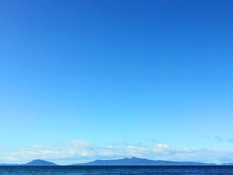 27 July 2015: View of Maria Island from the beach at Orford, Tasmania.