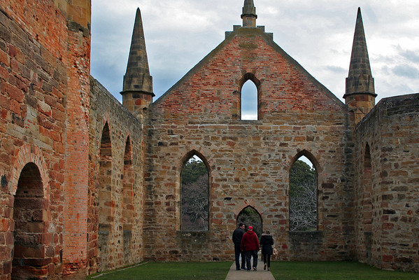 24 July 2015: Ruins of the Church at the Port Arthur Historical Site, Port Arthur, Tasmania.