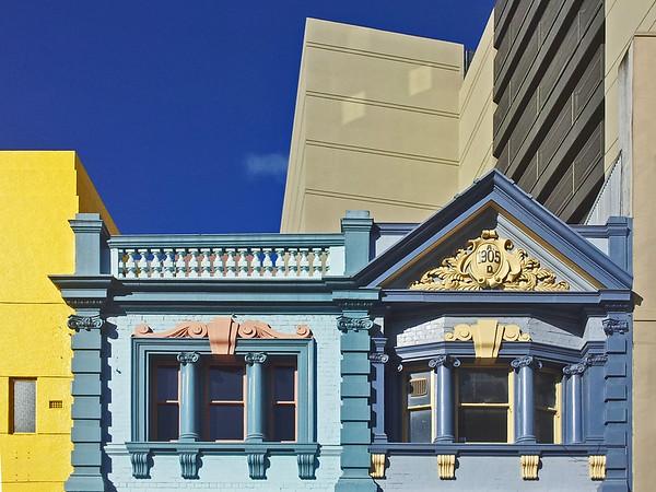25 July 2015: 19th century shop facades, Hobart, Tasmania.