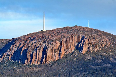 25 July 2015: The summit of Mount Wellington showing the Organ Pipes feature, as seen from Battery Point, Hobart, Tasmania.