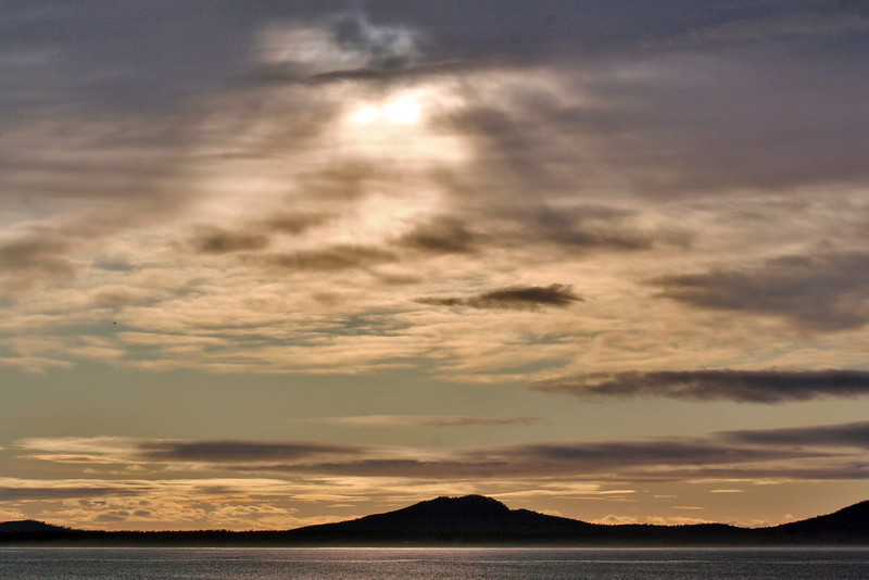 28 July 2015: Morning view from Schouten Beach, Swansea, across Great Oyster Bay towards the Freycinet Peninsula, Tasmania.