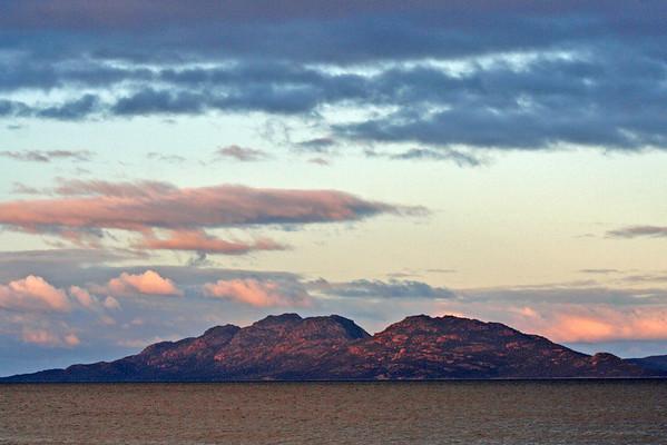 27 July 2015: Freycinet Peninsula sunset, as seen from Schouten Beach, Swansea, Tasmania.